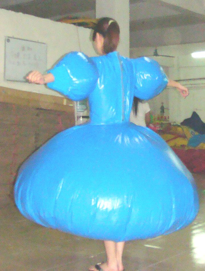 all of our inflatable dresses and skirts are made from duplex, they are sealed units with welded seam,s and sleeve valve inflation, they are in essence the same to wear as normal dresses, in that y...