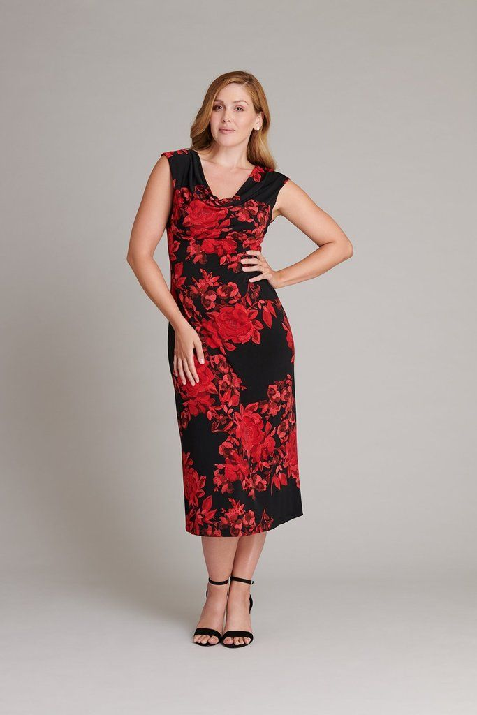 f580b45b39 Tonya s draped cowl neck and side ruching beautifully complements the red  floral print. A sleeveless midi dress with an A-line skirt