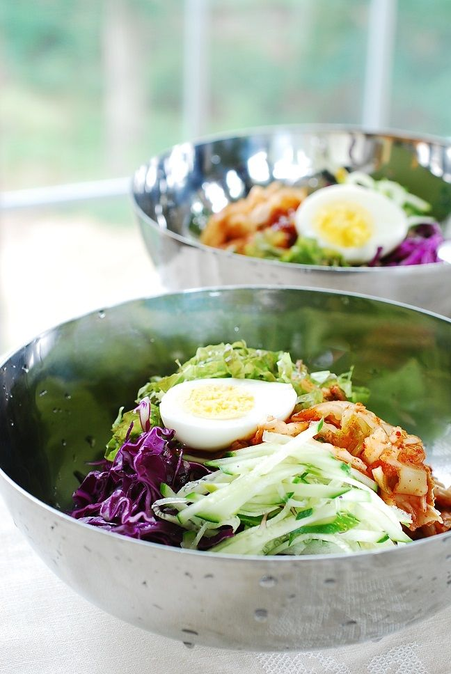 Bibim guksu! Spicy cold noodles with vegetables. Spicy, sweet and tangy!
