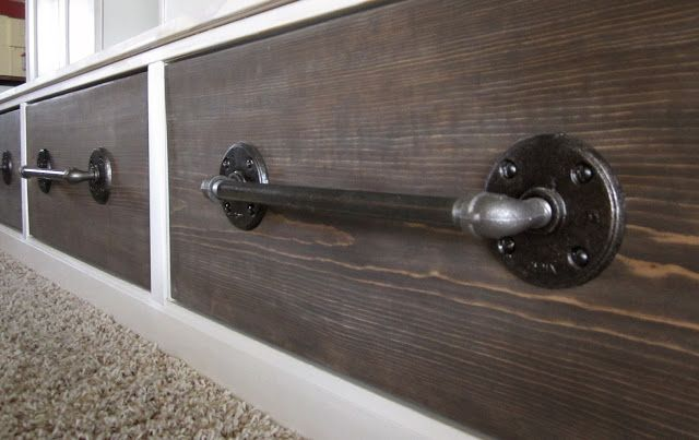 Pipe to drawer pulls (would work for industrial towel bar, too or curtain rod)