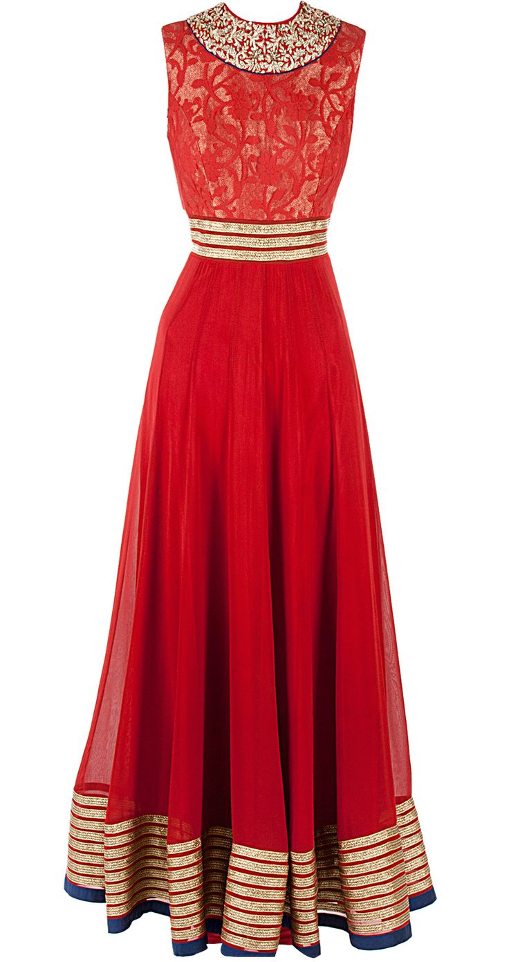 Red floor length anarkali available only at Pernia's Pop-Up Shop.