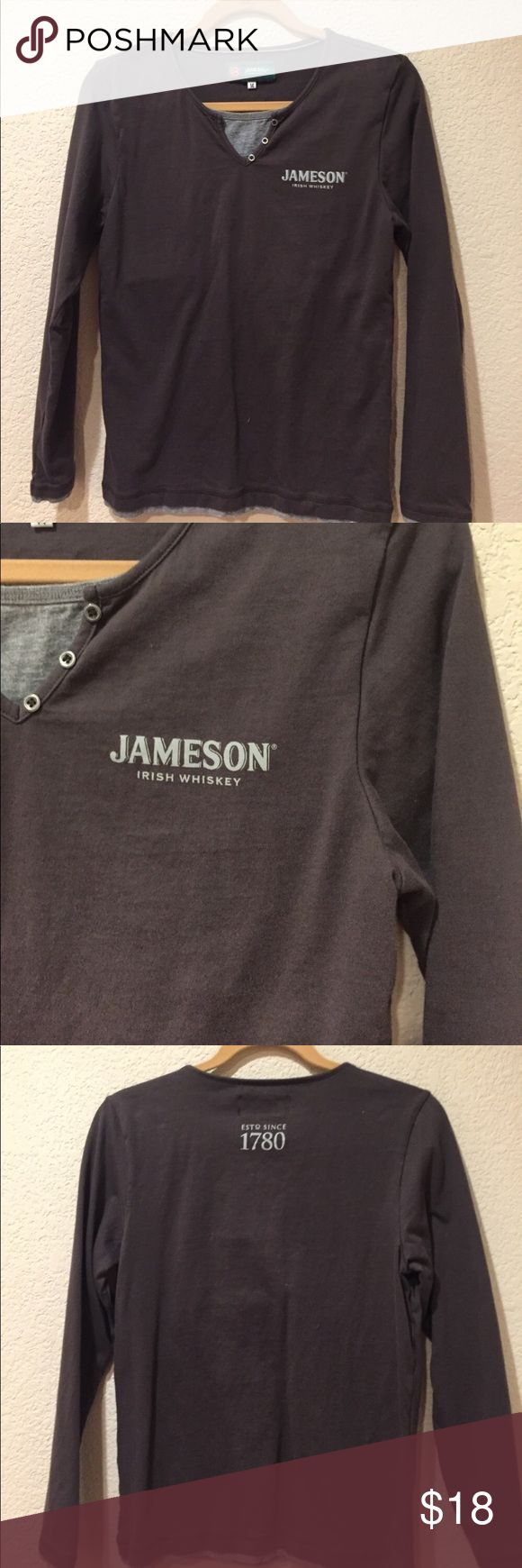 Jameson Irish whiskey 1780 women's long sleeve top Jameson Irish whiskey 1780 women's long sleeve top great preloved co diction with faux undershirt and three buttons has stretch to it and is thicker for fall/winter Tops