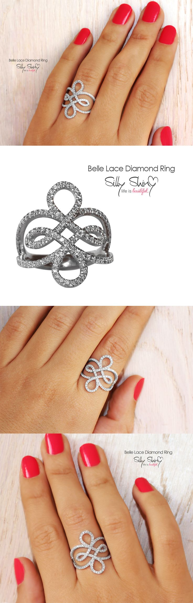 ♥ Princess Belle Lace Diamond Ring handmade from 14k white gold in pictures, into this lace ring I have interlaced a few very flowing beautiful shapes, also there are 2 hearts you can find from the side view of the ring. This lace ring width is very flattering for the finger. This ring is feminine with delicate lines, throws a lot of sparkle all around, has luxurious high fashion look