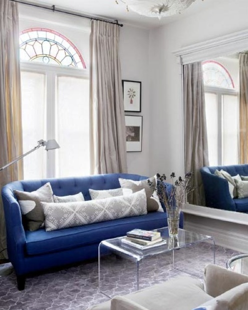 Love the Royal Blue and Gray Living Room!  Lucite Coffee table so chic!