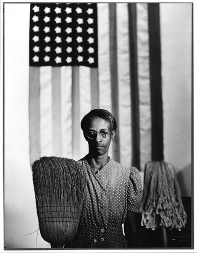 "Gordon Parks. Parks took this photo of a worker in the Washington DC office building of the Farm Security Administration on his first day of work there. Parks later worked for Life Magazine and wrote, directed and composed the music for the film ""The Learning Tree."" He describes taking this photo in his first autobiography."