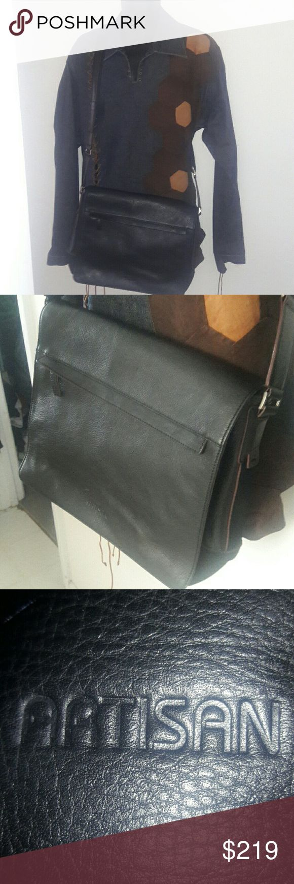 ARTISAN Handcrafted Leather Messenger Bag This awesome Artisan handcrafted leather messenger bag is a black, supple carrying case, perfect for transporting everything from your documents to your laptop in style. It has a matching, adjustable shoulder strap and is in great, gently-used condition. Artisan Bags Messenger Bags