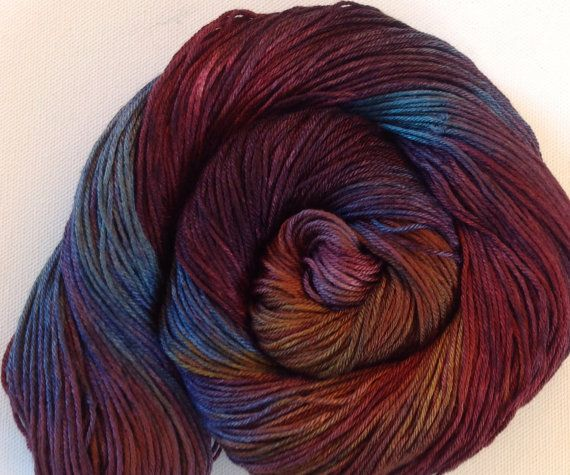 Hand painted 50/50 merino silk 4 ply yarn 380 by Artemisknits
