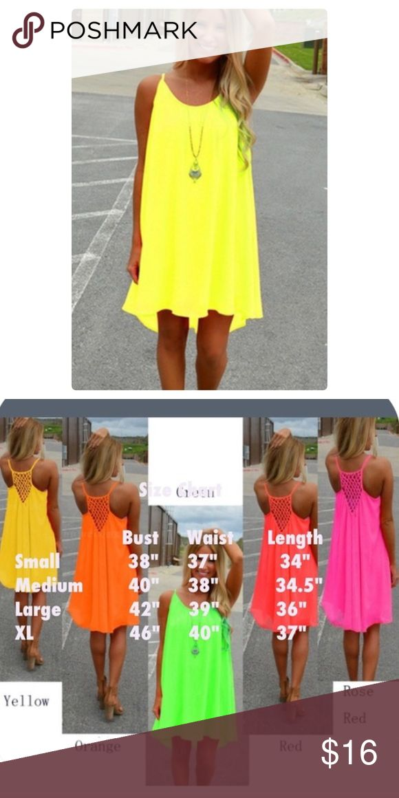 Yellow Neon Beach Dress Bright Yellow Beach Party Dress! Lined down to last few inches of the dress that is sheer for a sexy look! Dresses Mini
