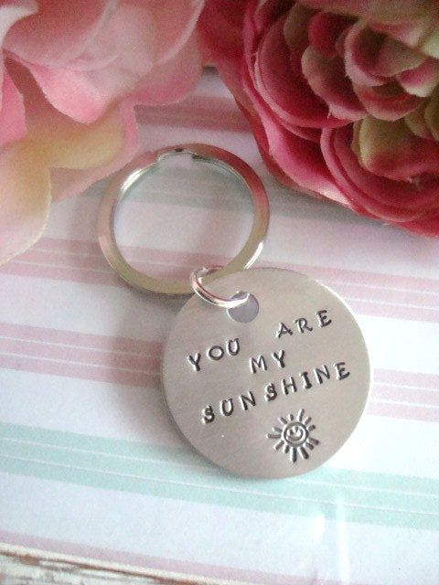 You Are My Sunshine Hand Stamped Keychain by Wonderfullmoments6, €5.10