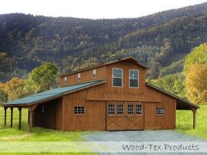 Monitor Barn, Modular Barn, like that the lean-tos have been made longer to make a pergola.
