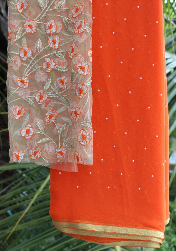 Orange moti-work saree with embroidered blouse piece