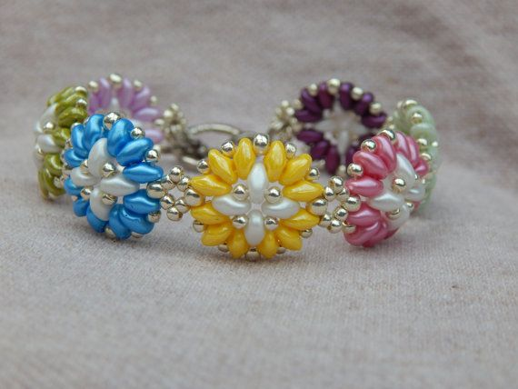 Spring+Bouquet+super+duo+bead+woven+bracelet+by+ImaBraceletgirl