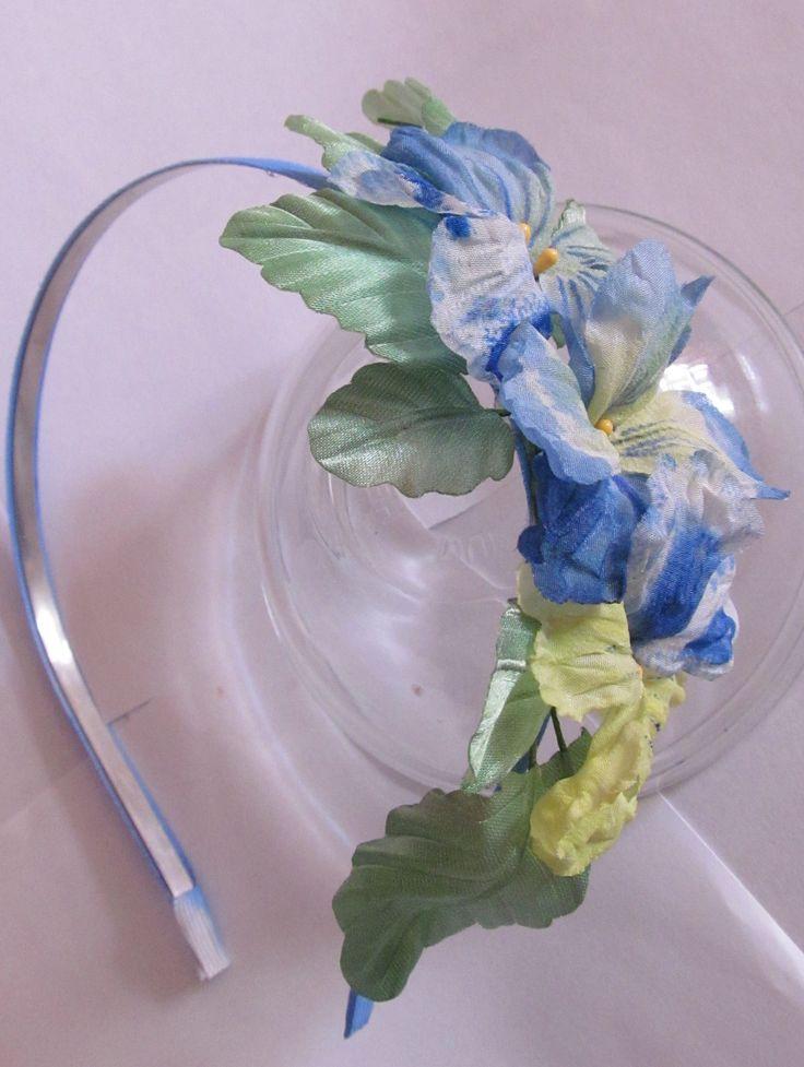 #Ободок из шелковых анюток. Ручная роспись. #Цветы из шелка. Продаётся