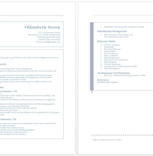 Resume For Babysitters Resume Templates Professional Cv Resume For