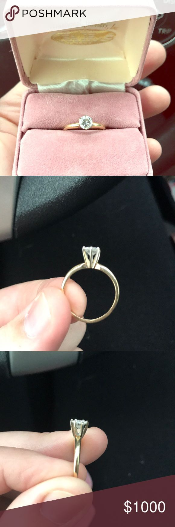 14K Gold Diamond Engagement Ring 6 Prong Selling a 14K yellow gold diamond engagement ring, size 5 but can definitely be sized at a jeweler. Only worn for a short period of time, about 1-2 months, and will come in the original box. I do not have an appraisal to provide and I am unsure of the carat, color, and clarity, but appears to be 0.25-0.45 carats.   One prong is a bit out of place (see picture 3) but is not noticeable unless you really look, and can be easily fixed by a jeweler. Feel…