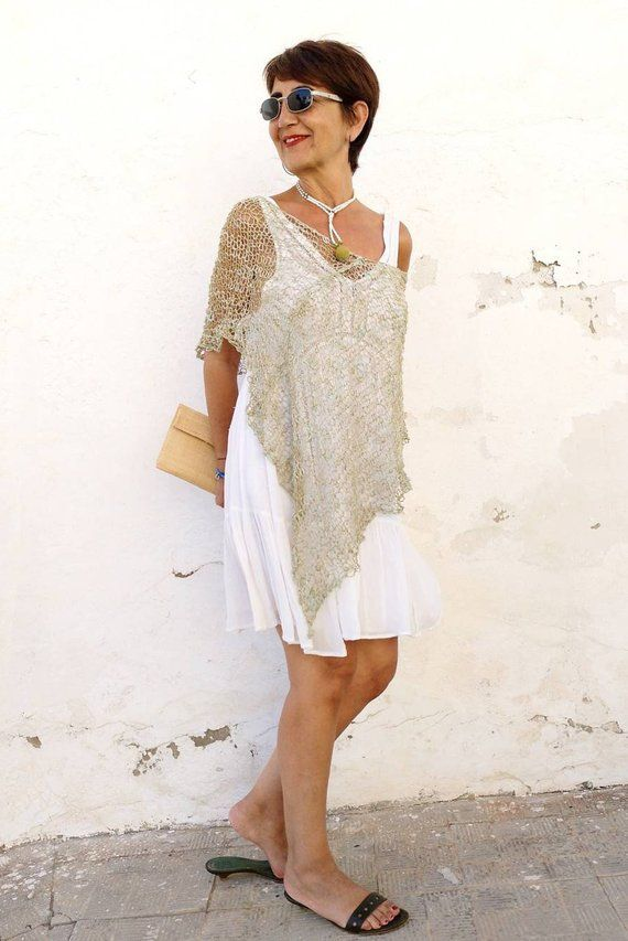 With This Summer Knit Poncho Its Not Necessary A Fresh Day For Wearing You Can Wear It Any Time Any Place The Perfec Knitted Poncho Dress Cover Poncho Dress