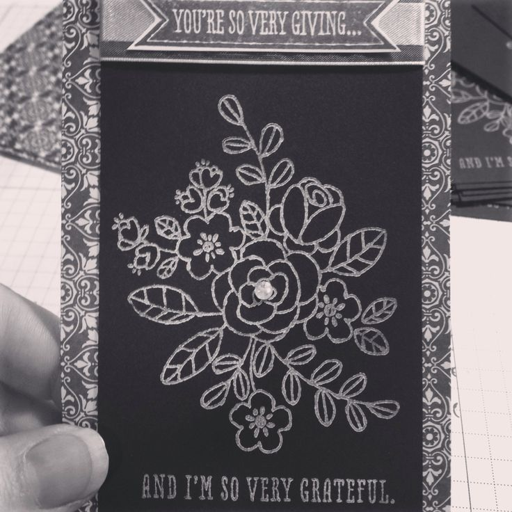 Classy black & white version of So Very Grateful stamp set from Occasions Stampin' Up! Spring 2014 catalog! Http://www.stampinbythesea.stampinup.net