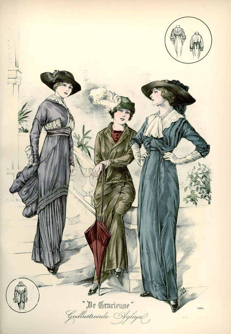[De Gracieuse] No. 1. Toilet voor een jong meisje. No. 2. Fantasie-tailleur-kostuum voor jong gehuwde dames. No. 3. Namiddagtoilet van zijden laken (February 1913)