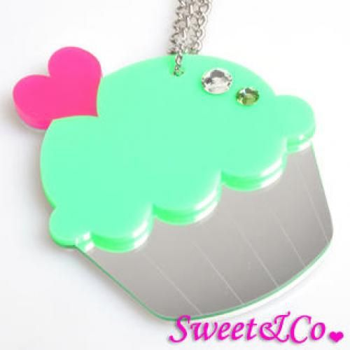 Sweet&Co. XL Mirror Green Cupcake Silver Necklace Silver - One Size