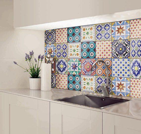 Moroccan Tile Decal Backsplash Tile Stickers Bathroom Decal Etsy Splashback Tiles Tile Decals Kitchen Splashback Tiles