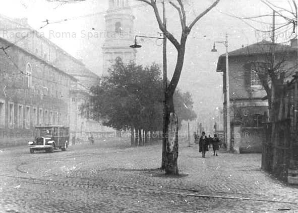 Via Ostiense angolo Via A. Severo, raccordo per il Deposito Littorio San Paolo Anno: Gennaio 1938