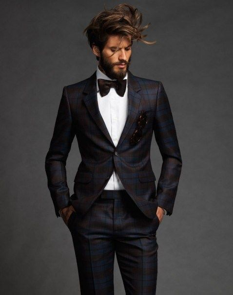 nice trimmed beard with messy hair we love it - Smoking Hugo Boss Mariage