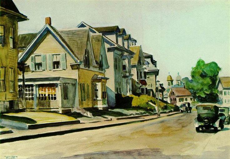 Sol en la calle Prospect (Gloucester, Massachusetts), 1934 - Edward Hopper. Realismo Social