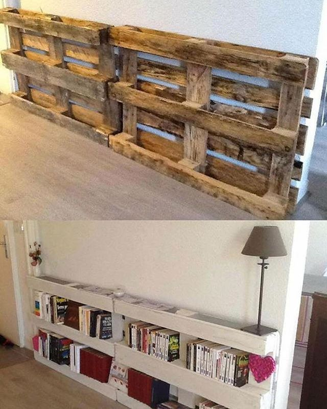 Do it yourself bookshelves made with pallets how cool for Do it yourself built in bookshelves