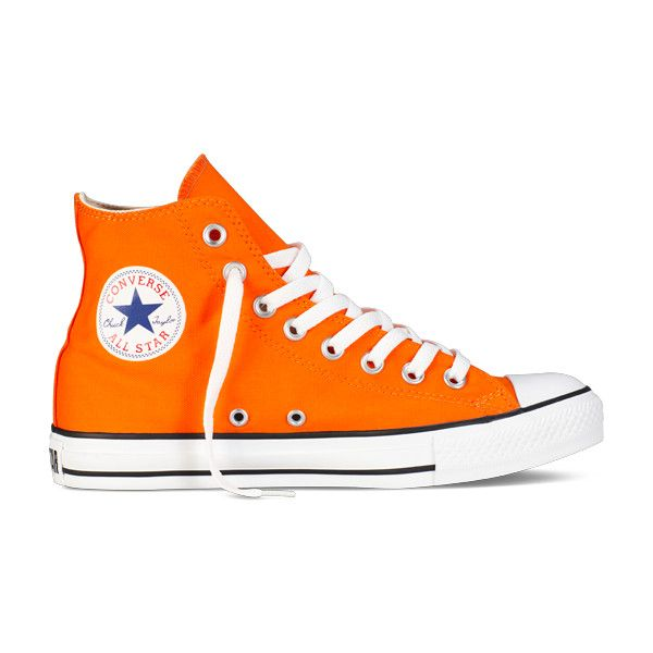 Orange Hi-Top Chuck Taylors All Star : Converse Shoes | Converse.com ($55) ❤ liked on Polyvore