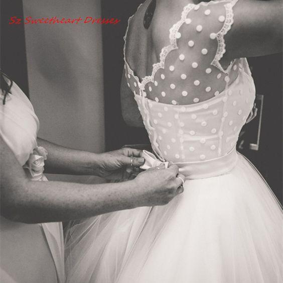 Pas cher Vintage 1950 s Style Plage Robe De Mariée Blanc Mi-mollet robe De Noiva Sheer Cou 2016 Robes De Mariée Robe Personnalisée fait