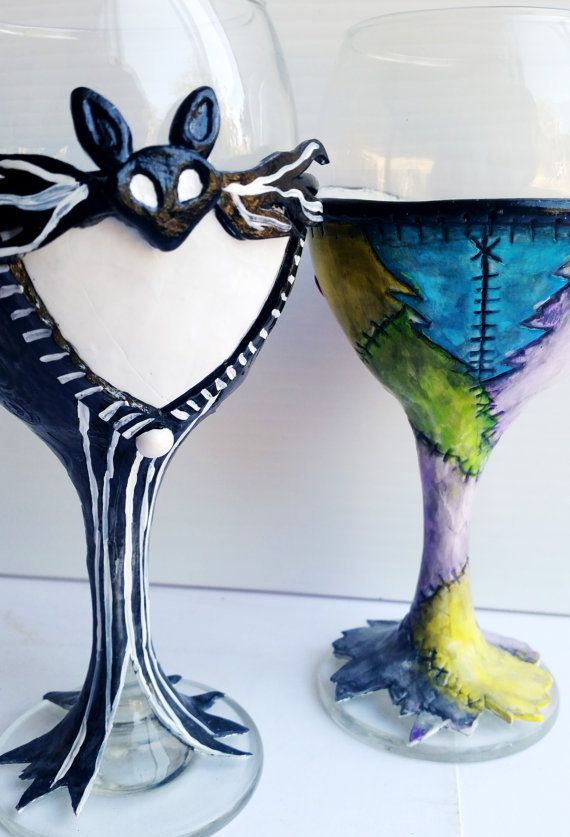 When Harry met Sally? No! When JACK met SALLY! Jack Skellington and Sally Nightmare before Christmas wine glasses!