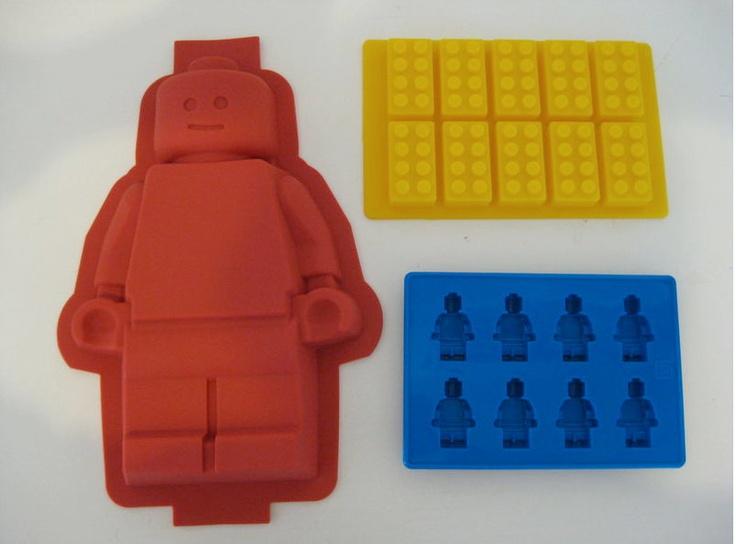 Lego Silicone Minifigure Cake Pan chocolate candy Mold brick ice tray set of 3. $65.00, via Etsy.