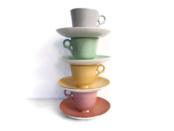 Figgjo Flint of Norway Espresso Tea or Coffee Set / Vintage Pastel Demitasse Tea Cups / Spring Time Tea Party