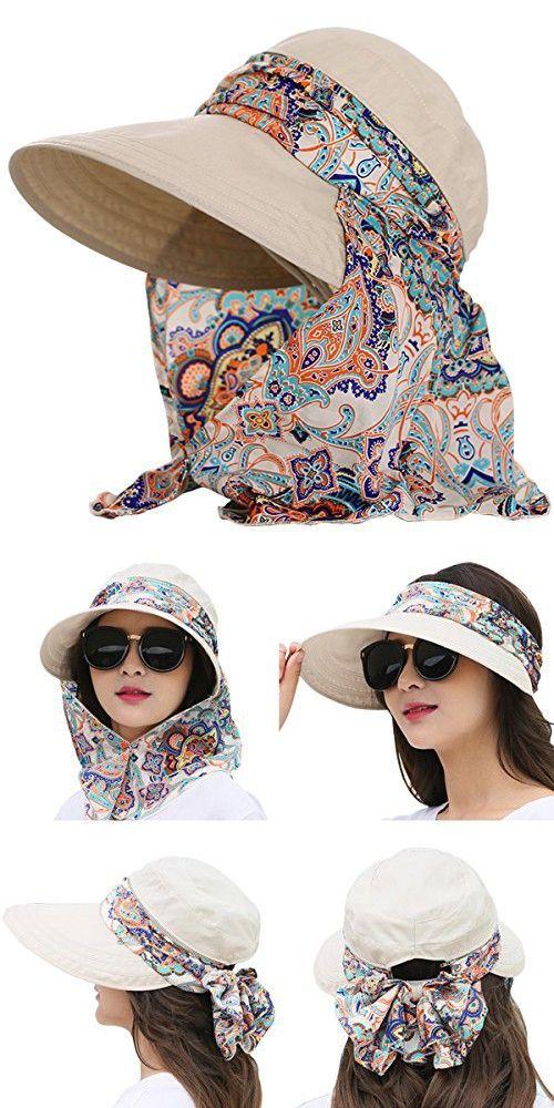 5ca5c5e16 Lanzom Women Lady Wide Brim Cap Visor Hats UV Protection Summer Sun ...