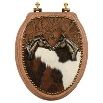 Horse Head & Cowhide Toilet Seat