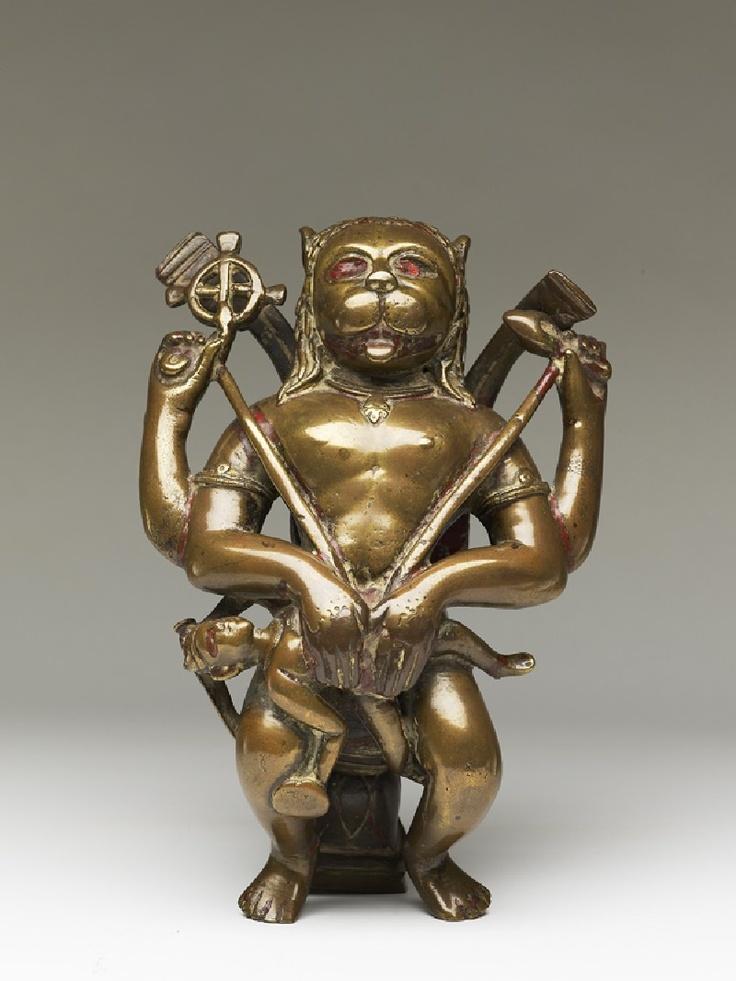 Narasimha or Man-Lion an avatar of Vishnu, cast bronze, Chamba Punjab  15th C.