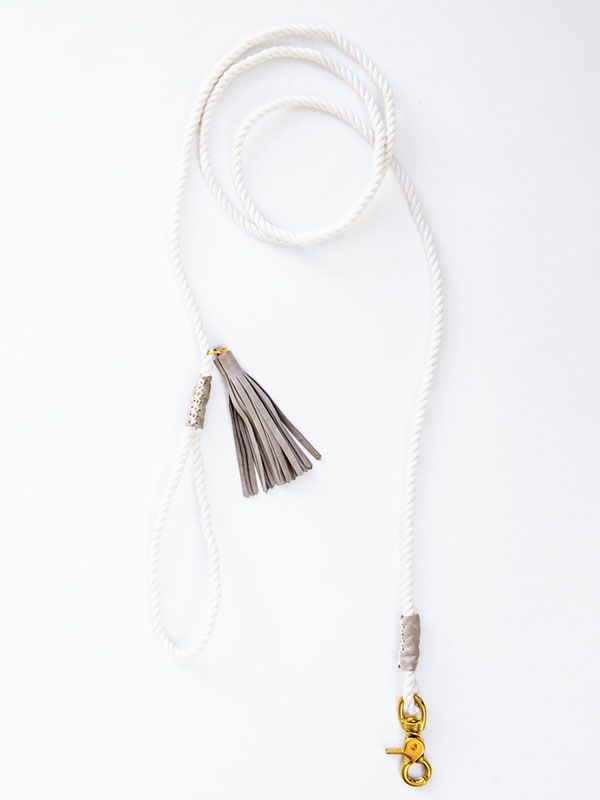 Chic dog leash | white rope & gray leather tassel