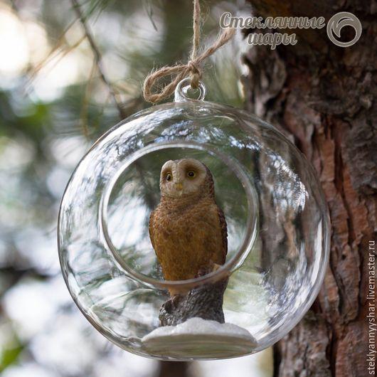 Стеклянный шарик с совой. Новогодний шарик. Елочный шар. Сова. Новогодний декор. Новый год