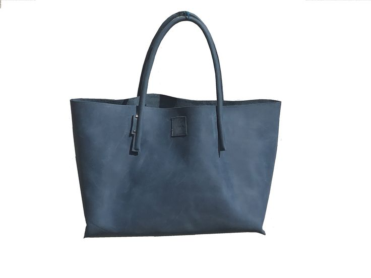 XXL leather shopping bag leather shopper large leather bag leather bushopper cool carrier bag used look blue handmade