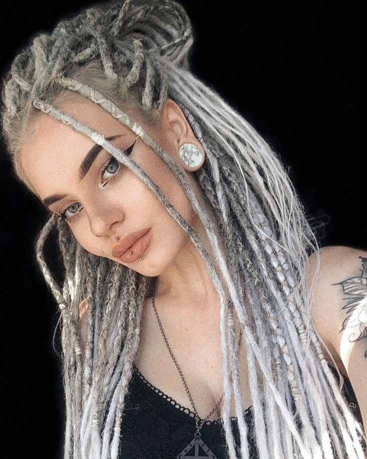 SNOW QUEEN. Dreads.Synthetic dreads. Custom. Handmade. Grey | Etsy in 2021 | Dreadlocks girl, Dread hairstyles, Half dreaded hair