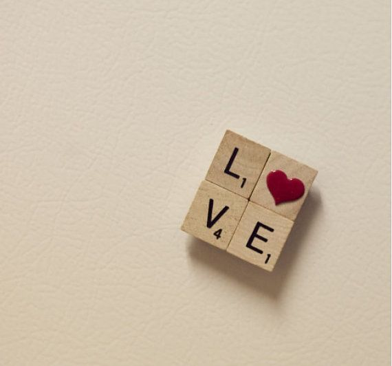 Scrabble Love Magnet, Valentines day magnet,  on Etsy, $4.99