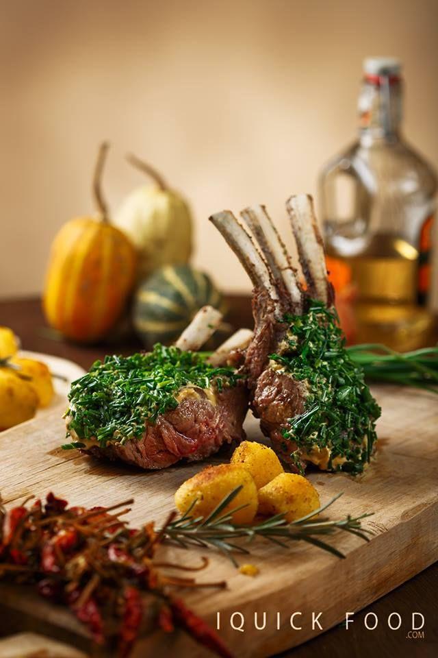 Mustard and Chives Rack of Lamb #food #lamb #rackoflamb