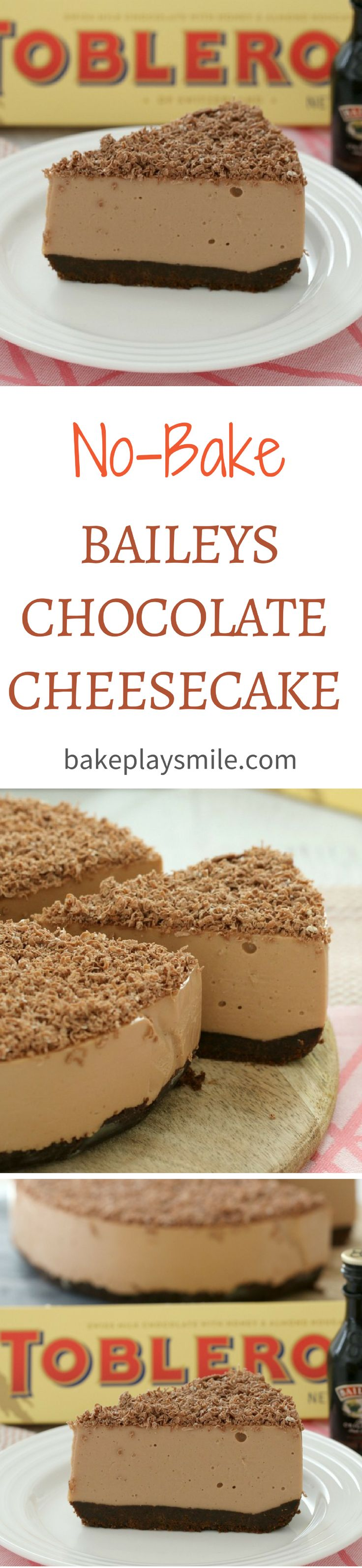 The BEST Baileys Chocolate Cheesecake with Toblerone chocolate… completely no-bake (so there's no need to turn the oven on!). Easy and delicious! #baileys #cheesecake #nobake #toblerone #easy #chocolate #thermomix #conventional #dessert
