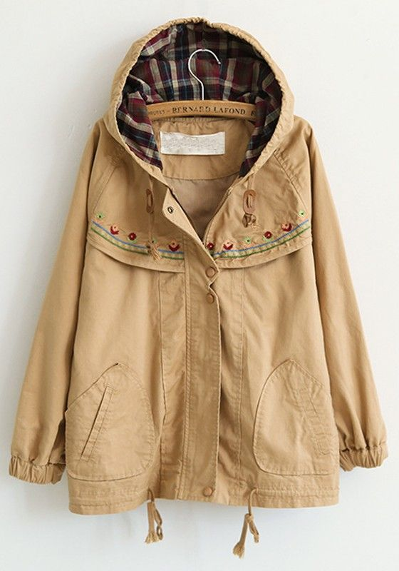 Khaki Embroidery Stud Loose Cotton Blend Trench Coat