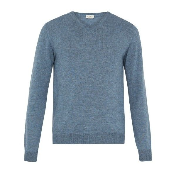 Éditions M.R V-neck wool sweater ($135) ❤ liked on Polyvore featuring men's fashion, men's clothing, men's sweaters, blue, mens blue sweater, mens woolen sweaters, mens v neck sweater, mens merino wool v neck sweater and mens slim fit sweater