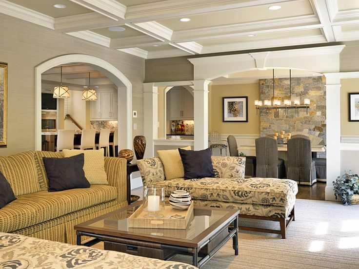 mouldings, coffered ceiling, wall color