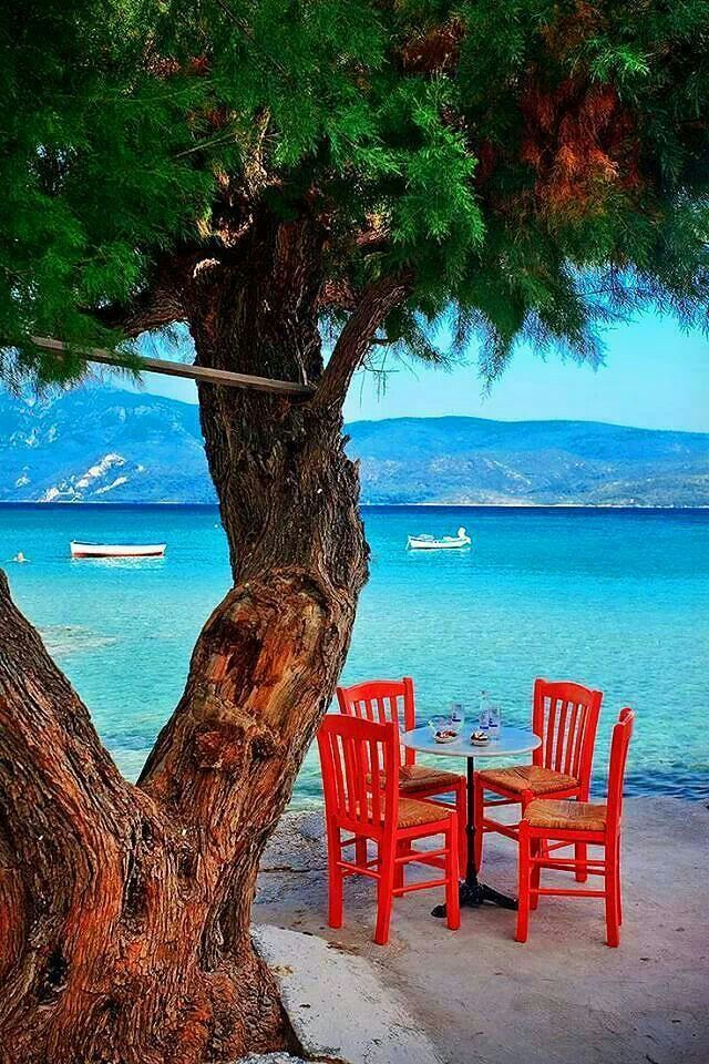 Greek view, chairs, blue sea
