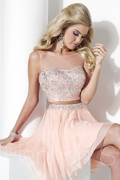 Hannah S 27944 Trendy 2pc Short Prom Dress- This trendy two-piece short party dress has an illusion Bateau neckline with a fully beaded bodice and waistline on the asymmetrical short chiffon skirt. Chiffon