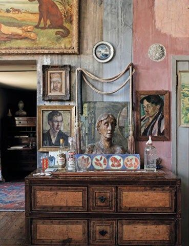 Interior of Charleston painted by the Bloomsbury group members Vanessa Bell & Duncan Grant from feature on artist Cressida Bell