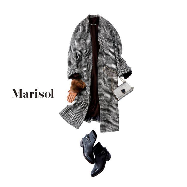 """おしゃれプロ達も絶賛する""""グレンチェック柄コート""""を主役にデートへ【2018/1/26コーデ】Marisol ONLINE 女っぷり上々!40代をもっとキレイに。"""